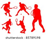 tennis player silhouette in... | Shutterstock . vector #85789198