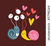 Snails In Love - stock vector