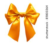 gold satin gift bow. ribbon....   Shutterstock . vector #85803364