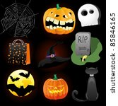 halloween icons a collection of ... | Shutterstock .eps vector #85846165