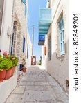 narrow street in greek style... | Shutterstock . vector #85849201