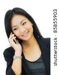 Young business woman on the phone isolate on white background - stock photo
