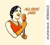 Jazz singer in three color print halftone pattern - stock vector