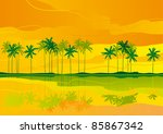 tropical dreams. horizontal... | Shutterstock .eps vector #85867342