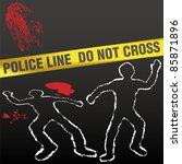 crime scene with police tape... | Shutterstock .eps vector #85871896