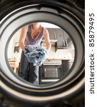 doing the laundry - stock photo
