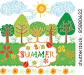 summery forest | Shutterstock .eps vector #85880632