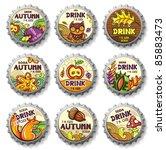 set of cute autumnal bottlecaps ... | Shutterstock .eps vector #85883473