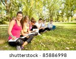 college or university students... | Shutterstock . vector #85886998