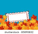 Autumn falling leaves background with frame for seasonal design. Rasterized version also available in gallery - stock vector