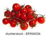 Biological tomatoes isolated on white background - stock photo