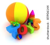 """Word """"Toys"""", balls, pyramid and airplane - stock photo"""