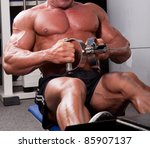 bodybuilder training his back | Shutterstock . vector #85907137