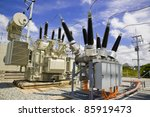 High Voltage Substation On Blu...