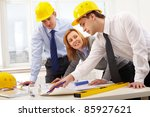 three architects sitting at... | Shutterstock . vector #85927621