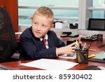 cute boy in business attire in... | Shutterstock . vector #85930402