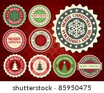 christmas label with snowflake... | Shutterstock .eps vector #85950475