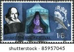 Small photo of UNITED KINGDOM - CIRCA 1964: A stamp printed in England, is dedicated to the 400th anniversary of William Shakespeare, shows Henry V praying at Agincourt, circa 1964