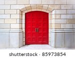 Red Door On White Brick...