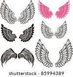 set of wings isolated on white... | Shutterstock .eps vector #85994389