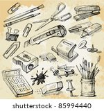 some office stuff hand drawn | Shutterstock .eps vector #85994440