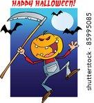 happy halloween over a grinning ... | Shutterstock .eps vector #85995085