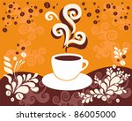 a cup of hot coffee on the... | Shutterstock .eps vector #86005000
