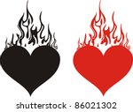 heart on fire isolated on white ... | Shutterstock .eps vector #86021302