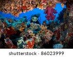 Diver Entering Underwater Cave.