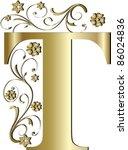capital letter t gold | Shutterstock .eps vector #86024836