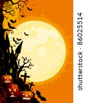 happy halloween  three glowing... | Shutterstock .eps vector #86025514