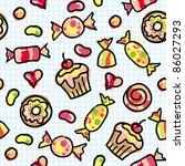 hand drawn seamless pattern of... | Shutterstock . vector #86027293