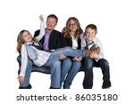 isolated image of a cute family ... | Shutterstock . vector #86035180