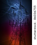 Lightning flash strike in high voltage tower line vector background - stock vector
