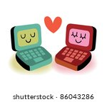 Two laptop computers in love - stock vector