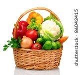 fresh vegetables in basket... | Shutterstock . vector #86043415