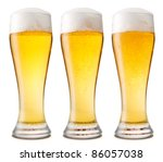 Beer into glass isolated on white. three options - stock photo