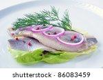 Stock photo fillets of white herring 86083459