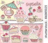 cupcake scrapbook set | Shutterstock .eps vector #86085025