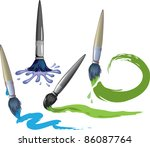 paint brushes in their work.... | Shutterstock .eps vector #86087764