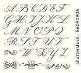 hand drawn script alphabet with ...   Shutterstock .eps vector #86092906