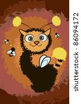 illustration with cute cat and... | Shutterstock . vector #86094172