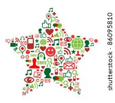 Christmas star shape made with Social media icons. - stock vector