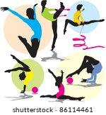 set vector rhythmic gymnastics silhouettes