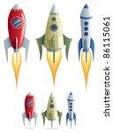 set of 3 cartoon rockets in 2... | Shutterstock .eps vector #86115061