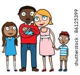 cartoon mixed ethnicity family... | Shutterstock .eps vector #86125399