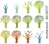 1 year life of a tree vector.... | Shutterstock .eps vector #86130727