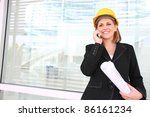 a woman construction manager on ... | Shutterstock . vector #86161234