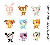 cute animal doodle | Shutterstock .eps vector #86170606