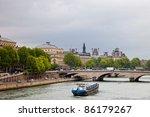 Stone bridge over Seine in Paris France. - stock photo